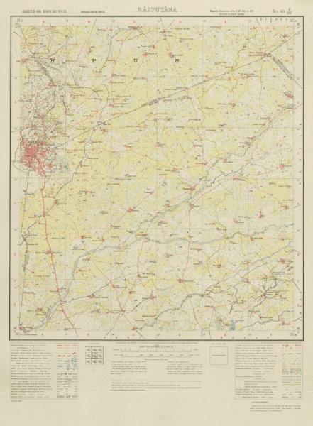 Associate Product SURVEY OF INDIA 45 F/SW Rajasthan Jodhpur Luni River Bisalpur 1933 old map