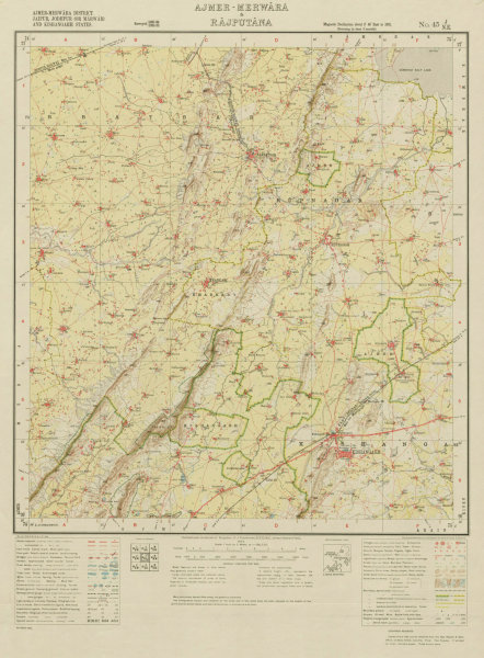 Associate Product SURVEY OF INDIA 45 J/NE Rajasthan Kishangarh Roopangarh Parbatsar 1933 old map