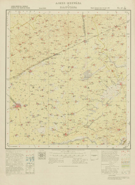Associate Product SURVEY OF INDIA 45 J/NW Rajasthan Merta City Degana Thanwala Riyan Bari 1933 map