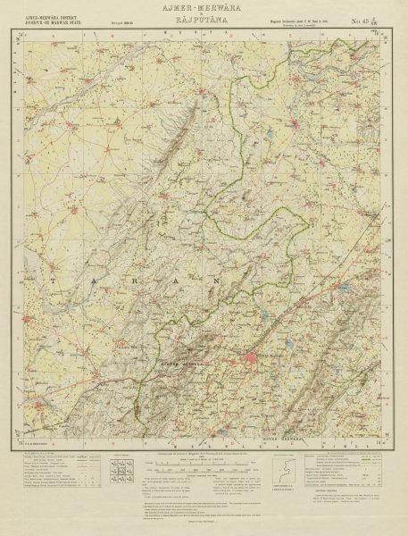 Associate Product SURVEY OF INDIA 45 J/SW Rajasthan Beawar Bar Nimaaj Ras Fort Pisangan 1931 map
