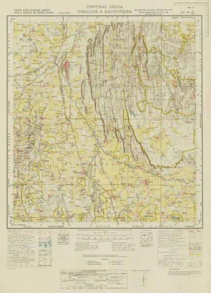 Associate Product SURVEY OF INDIA 45 L/NE Rajasthan Madhya Pradesh Chittorgarh Nimbahera 1939 map