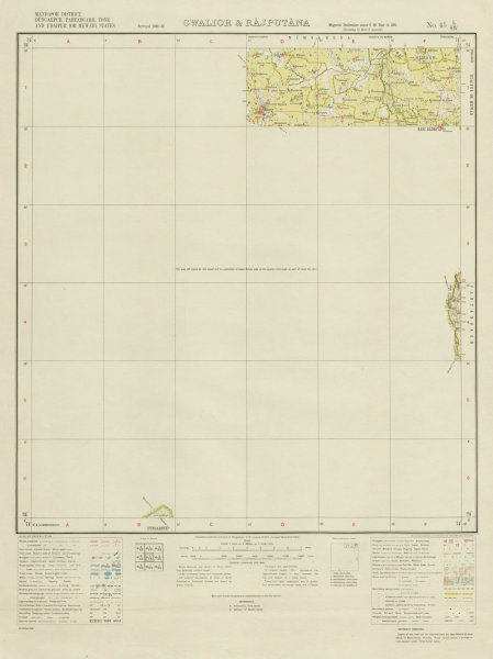 Associate Product SURVEY OF INDIA 45 L/SW Rajasthan & Madhya Pradesh Kanore Bari Sadri 1938 map
