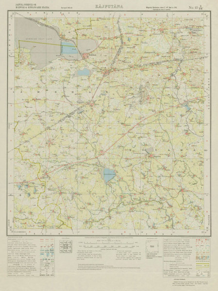 Associate Product SURVEY OF INDIA 45 N/NW Rajasthan Naraina Phulera Jobner Sambhar Dudu 1933 map