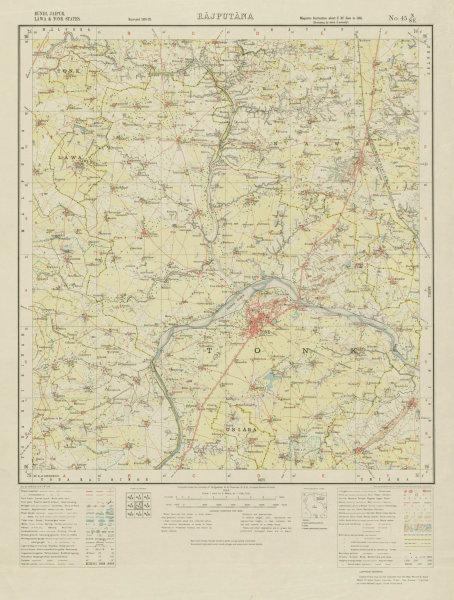 Associate Product SURVEY OF INDIA 45 N/SE Rajasthan Tonk Niwai Banas River Kakor Banetha 1933 map