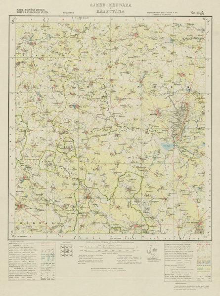 Associate Product SURVEY OF INDIA 45 N/SW Rajasthan Malpura Todaraisingh Junia Sarwar 1933 map