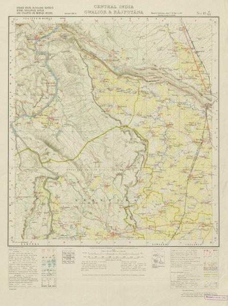 Associate Product SURVEY OF INDIA 45 P/NE Rajasthan Madhya Pradesh Rawatbhata Bhanpura 1938 map