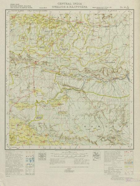 SURVEY OF INDIA 45 P/NW Rajasthan Madhya Pradesh Ratangarh Singoli 1938 map