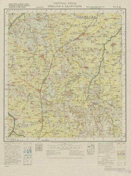 Associate Product SURVEY OF INDIA 45 P/SE Rajasthan Madhya Pradesh Garoth Sunel Suwasra 1938 map