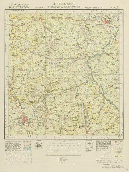 Associate Product SURVEY OF INDIA 45 P/SW Madhya Pradesh Mandsaur Rampura Gandhi Sagar  1938 map
