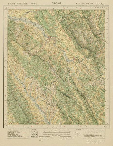 Associate Product SURVEY OF INDIA 53 A/NW Himachal Pradesh Pragpur Nadaun Jawalamukhi Amb 1925 map