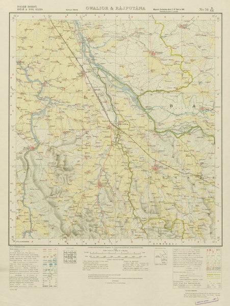 Associate Product SURVEY OF INDIA 54 D/NE Rajasthan Chhabra Chhipa Barod Fatehgarh Gugor 1936 map