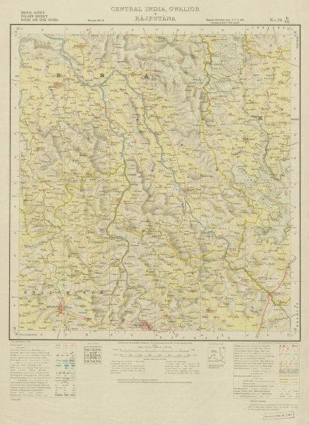 Associate Product SURVEY OF INDIA 54 D/SE Rajasthan Madhya Pradesh Rajgarh Sarthal Aklera 1936 map