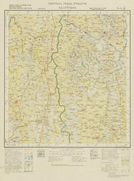Associate Product SURVEY OF INDIA 54 D/SW Rajasthan Madhya Pradesh Pirawa Jirapur Soyat 1936 map