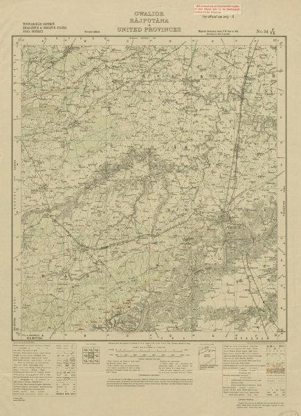 Associate Product SURVEY OF INDIA 54 F/NE Madhya Pradesh Rajasthan Dholpur Bari Keragarh 1924 map