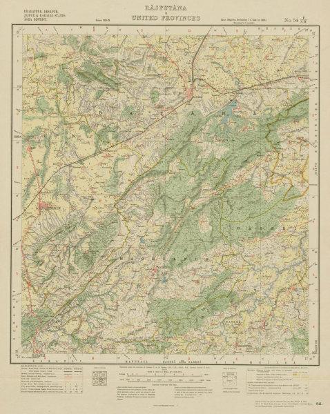 Associate Product SURVEY OF INDIA 54 F/NW Rajasthan Hindaun Machilpur Karauli Bayana  1924 map