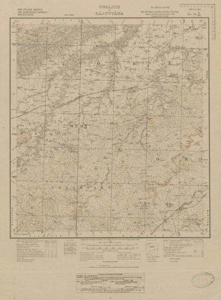 Associate Product SURVEY OF INDIA 54 F/SE Madhya Pradesh Kailaras Pahadgarh Joura Ther 1924 map