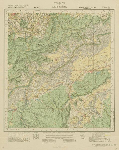 Associate Product SURVEY OF INDIA 54 F/SW Rajasthan/Madhya Pradesh Mandrayal Sabalgarh 1924 map