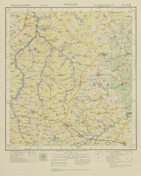 Associate Product SURVEY OF INDIA 54 H/NE Madhya Pradesh Isagarh Shadora Ashnoknagar 1932 map