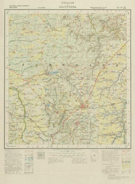 Associate Product SURVEY OF INDIA 54 H/NW Madhya Pradesh Rajasthan Guna Umri Bajrangarh 1933 map