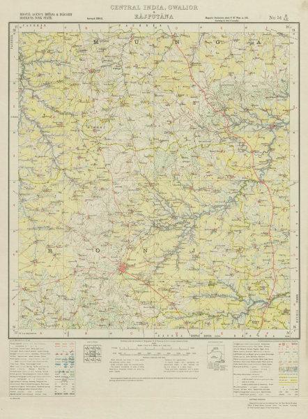 Associate Product SURVEY OF INDIA 54 H/SE Madhya Pradesh Sironj Gulabhganj Singhada Uhar 1933 map