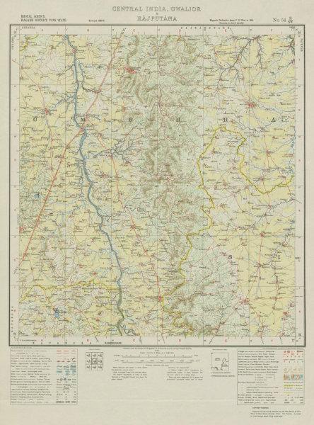 Associate Product SURVEY OF INDIA 54 H/SW Madhya Pradesh Aron Raghogarh Lateri Anandpur 1933 map
