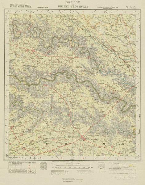 Associate Product SURVEY OF INDIA 54 J/NE Madhya/Uttar Pradesh Bhind Bah Jaswantnagar 1923 map