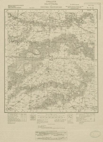 Associate Product SURVEY OF INDIA 54 J/NW Rajastan Madhya/Uttar Pradesh Ambah Rajakhera 1924 map