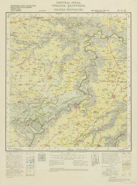 Associate Product SURVEY OF INDIA 54 J/SE Madhya Pradesh Seondha Mau Lahar Mihona Alampur 1924 map