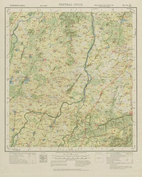 Associate Product SURVEY OF INDIA 54 P/NW Madhya Pradesh Bijawar Bada Malhera Khargapur 1932 map