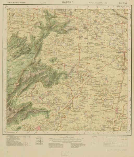 Associate Product SURVEY OF INDIA 58 G/NE Tamil Nadu Tirumangalam Elumalai Srivilliputhur 1925 map