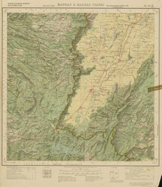 Associate Product SURVEY OF INDIA 58 G/NW Tamil N. Kerala Cardomom Hills Periyar Thekkady 1925 map