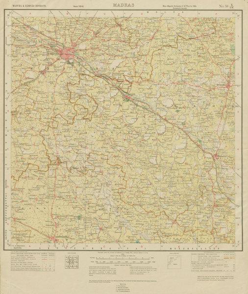Associate Product SURVEY OF INDIA 58 K/NW Tamil Nadu Madurai Aruppukkottai Sivaganga 1925 map