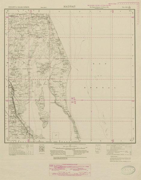 Associate Product SURVEY OF INDIA 66 C/NW Andhra Pradesh Pulicat Lake Mallamu Sriharikota 1920 map