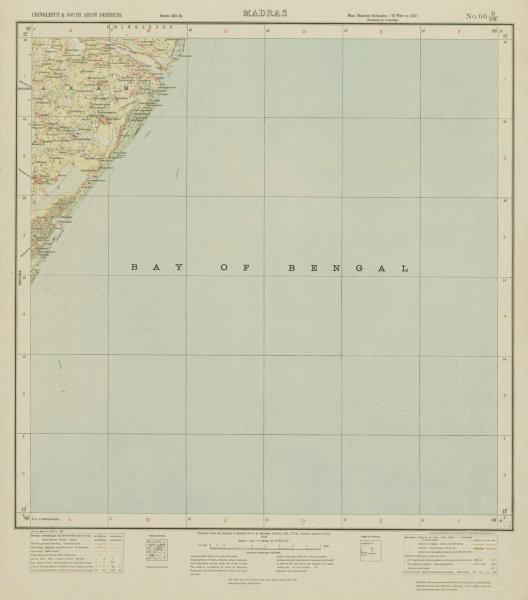 Associate Product SURVEY OF INDIA 66 D/SW Tamil Nadu Cheyur Alamparai Kadalur Bay/Bengal 1918 map