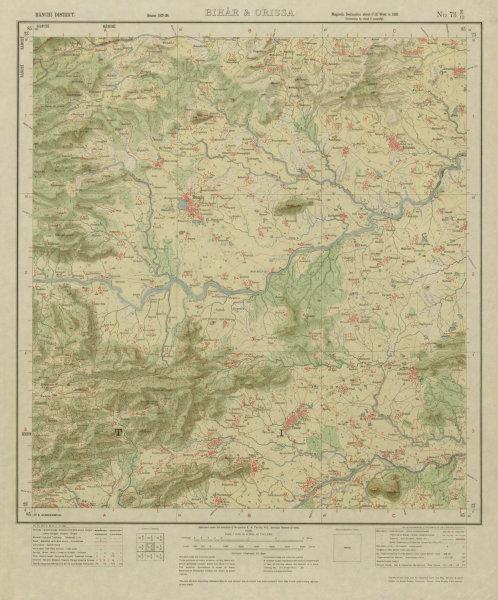 Associate Product SURVEY OF INDIA 73 E/12 Jharkhand Bundu Tamar Sonahatu Kanchi River 1928 map
