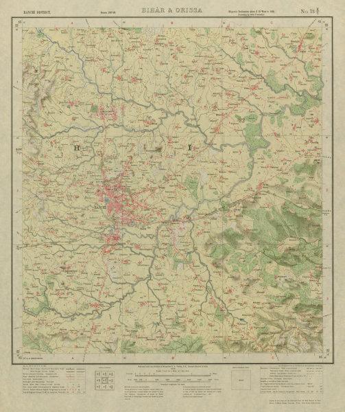 Associate Product SURVEY OF INDIA 73 E/7 Jharkhand Ranchi Ormanjhi Lalpur  1928 old vintage map