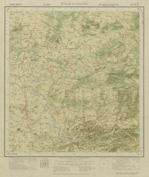 Associate Product SURVEY OF INDIA 73 E/8 Jharkhand Khunti Hardag Omto Lotor Kalamati 1928 map