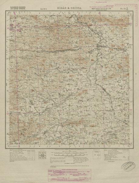 Associate Product SURVEY OF INDIA 73 E/SE West Bengal Muri Tamar Jhalda Bundu Lotang Kuda 1931 map