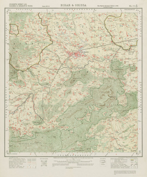 Associate Product SURVEY OF INDIA 73 F/10 Jharkhand Chakhradharpur Chaibasa Forest 1913 old map