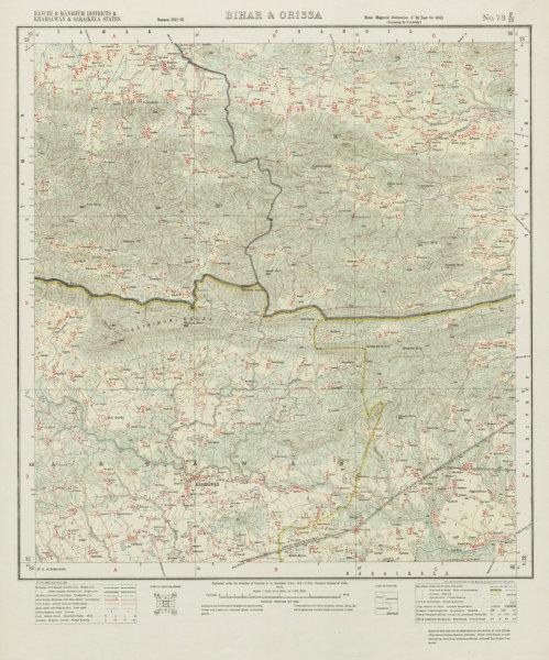SURVEY OF INDIA 73 F/13 Jharkhand Kharsawan Chandil Gamharia Range 1913 map