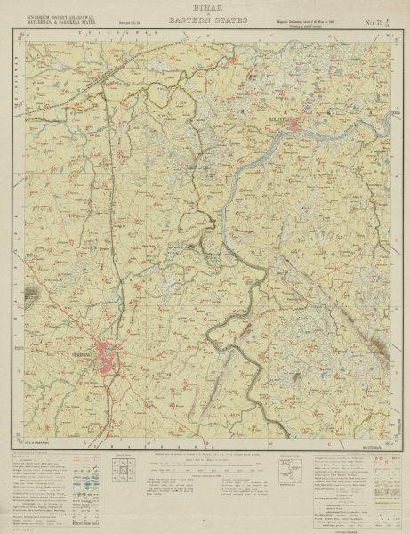 Associate Product SURVEY OF INDIA 73 F/14 Jharkhand Chaibasa Saraikela Kharkai River  1913 map