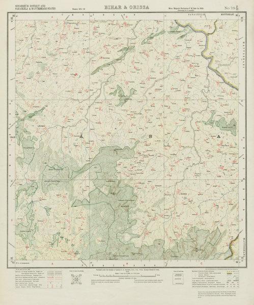 Associate Product SURVEY OF INDIA 73 F/15 Jharkhand Odisha Kumardungi Tantnagar Tonto 1913 map
