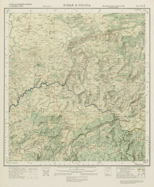 Associate Product SURVEY OF INDIA 73 F/5 Jharkhand Saranda Singhbhum Garae Bandgaon Pingu 1914 map