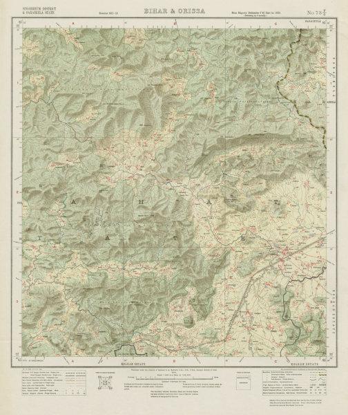 Associate Product SURVEY OF INDIA 73 F/6 Jharkhand Saranda Singhbhum Sonua Porahat Gohera 1914 map