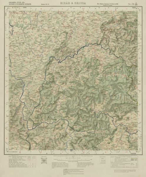 Associate Product SURVEY OF INDIA 73 F/NW Jharkhand Saranda Singhbhum Sonua Torpa Koel 1917 map
