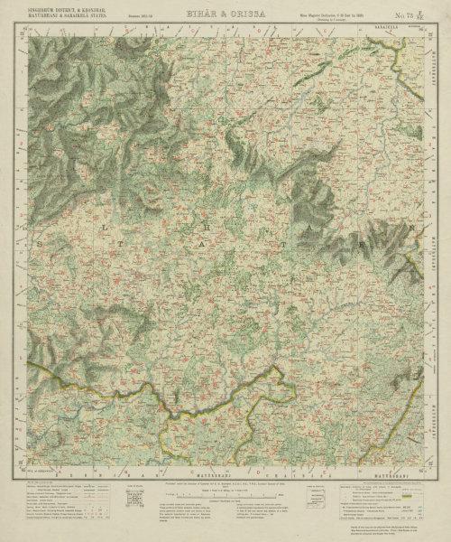 Associate Product SURVEY OF INDIA 73 F/SE Jharkhand Odisha Jaintgarh Majhgaon Jorapokhar 1917 map