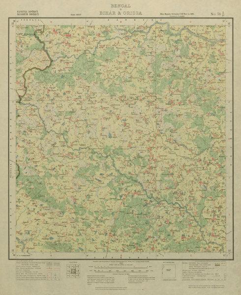 Associate Product SURVEY OF INDIA 73 I/16 West Bengal Indpur Hirbandh Molian Pedda Bhojda 1928 map