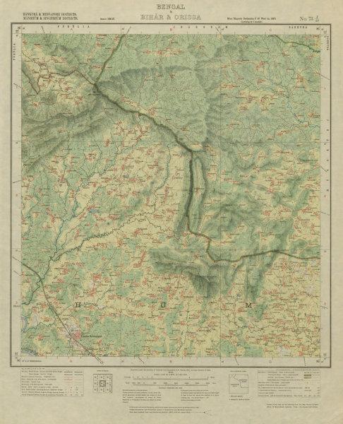SURVEY OF INDIA 73 J/10 West Bengal Jharkhand Dalma Elephant Reserve 1928 map