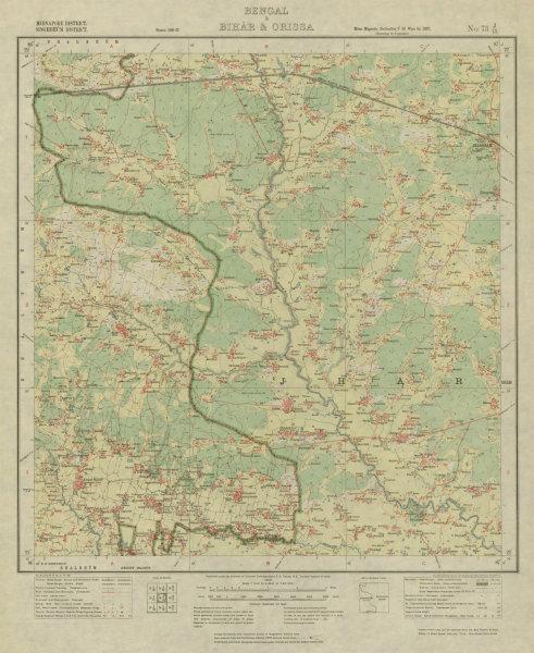 Associate Product SURVEY OF INDIA 73 J/15 West Bengal Jhargram Gidhni Chichra Jambona 1928 map
