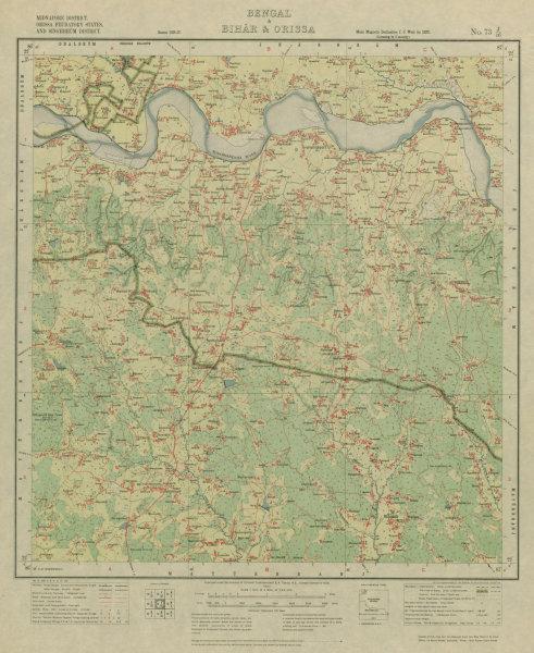 Associate Product SURVEY OF INDIA 73 J/16 West Bengal Odisha Gopiballabpur Suliapada 1927 map